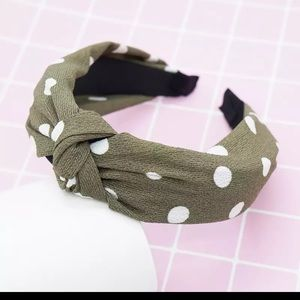 Accessories - Pin-Up Olive Polkadot Structured Knot Headband
